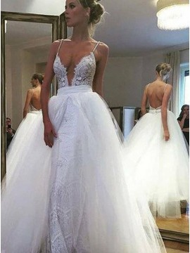 A-Line Spaghetti Straps Backless Lace Detachable Wedding Dress