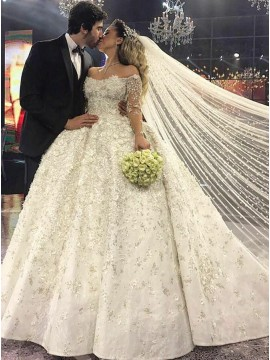 Ball Gown Off-the-Shoulder Long Sleeves Wedding Dress with Beading