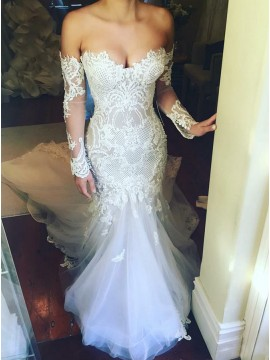Mermaid Sweetheart Long Sleeves Court Train Wedding Dress with Appliques