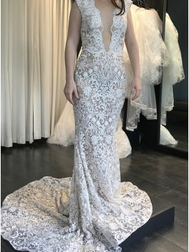 Mermaid Bateau Backless Light Champagne Lace Wedding Dress
