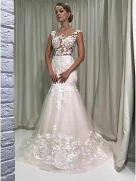Mermaid Round Neck Cap Sleeves Light Champagne Wedding Dress