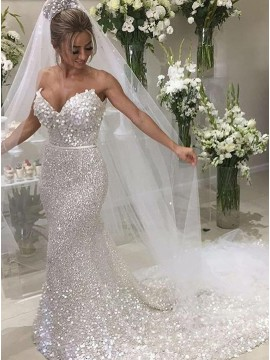 Mermaid Sweetheart Chapel Train Silver Sequined Wedding Dress