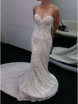 Mermaid Sweetheart Sleeveless Sweep Train Lace Wedding Dress