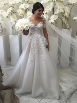 A-Line V-Neck Short Sleeves Sweep Train Wedding Dress with Appliques
