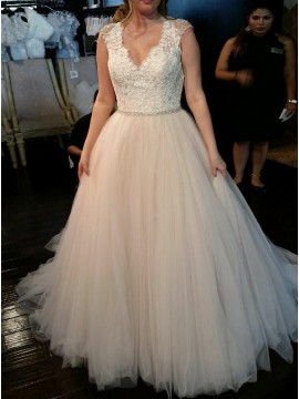 A-Line V-Neck Sweep Train Light Champagne Wedding Dress with Lace