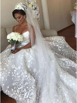 A-Line Spaghetti Straps Court Train Wedding Dress with Appliques