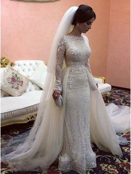 Sheath Bateau Long Sleeves Detachable Wedding Dress with Sequin