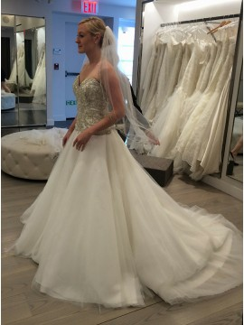 A-Line Sweetheart Court Train Wedding Dress with Appliques