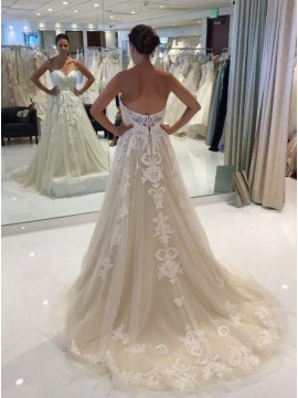 A-Line Sweetheart Court Train Light Champagne Wedding Dress with Appliques