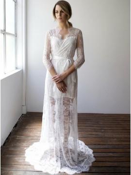 Sheath V-Neck 3/4 Sleeves Beach Lace Wedding Dress with Sash