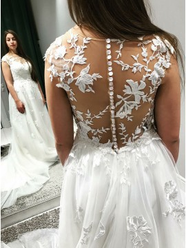 A-Line Round Neck Court Train Long Wedding Dress with Appliques