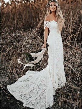 Mermaid Round Neck Short Sleeves Lace Boho Beach Wedding Dress