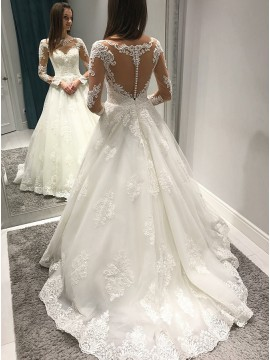 A-Line Bateau Long Sleeves Long Wedding Dress with Appliques