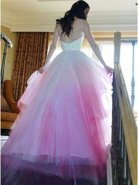 A-Line Round Neck Long Sleeves Pink Ombre Wedding Dress With Beading