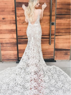 Mermaid V-Neck Backless Sweep Train White Lace Wedding Dress