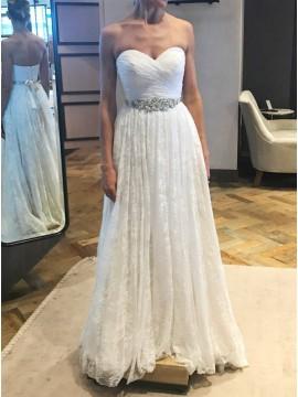 A-Line Sweetheart Sweep Train White Lace Wedding Dress with Sash