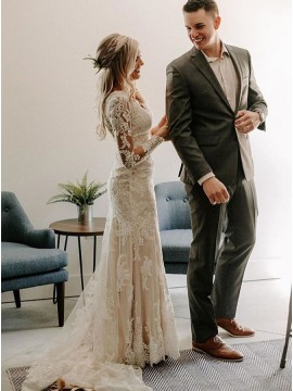 V-Neck Ivory Lace Appliques Mermaid Wedding Dress with Sleeves