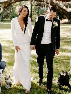 Elegant Sheath Deep V-Neck Long Sleevs Wedding Dress