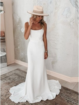 Square Neck Simple Mermaid Wedding Dress Backless Bridal Gown