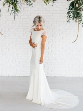 Elegant Open Back Mermaid Wedding Dress with Cap Sleeves