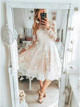 Appliques Vintage Backless Short Wedding Dress with Sleeves