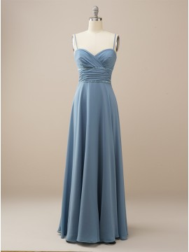 Chiffon Long Dusty Blue Bridesmaid Dress