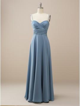 Chiffon Long Dusty Blue Bridesmaid Dress