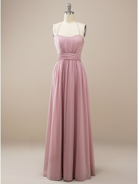 Chiffon Hater Long Dusty Rose Bridesmaid Dress