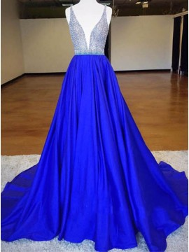 Dramatic Royal Blue Deep V-Neck Sweep Train Beading Prom Dress