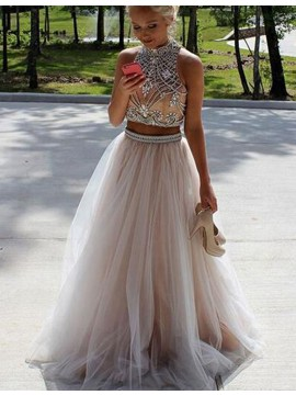 fc5bcdf4acb Fabulous Champagne Two Piece High Neck Open Back B..