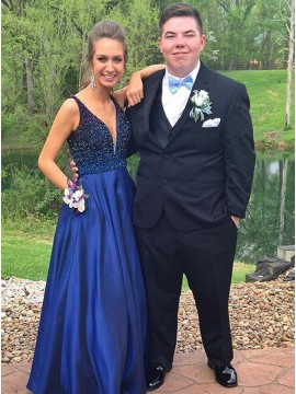 Hot Selling Navy Blue V-Neck Floor-Length Beading Prom Dress
