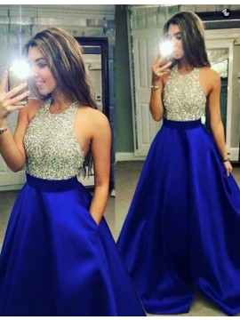 Dramatic Royal Blue Halter Floor-Length Beading Backless Prom Dress