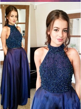 Magnetic Navy Blue Two Piece Halter Floor-Length Beading Prom Dress