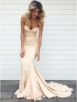 Stylish Pearl Pink Mermaid Sweetheart Sleeveless Sweep Train Prom Dress