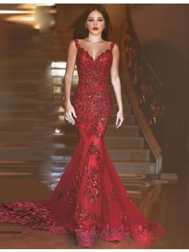Luxurious Mermaid Prom Dress V-Neck Beading Appliques Backless Red Evening Dress