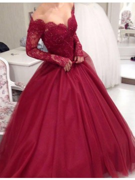 Elegant Burgundy Off the Shoulder Long Sleeves Beading Long Prom Dress