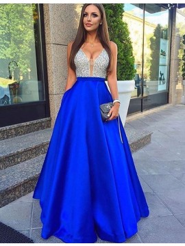 Glamorous Royal Blue Deep V-Neck Sleeveless Long Beading Prom Dress