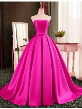 Stunning Ball Gown Strapless Long Pleated Fuchsia Prom Dress