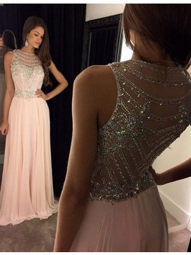 Glamorous Bateau Sleeveless Illusion Back Beading Long Pink Prom Dress