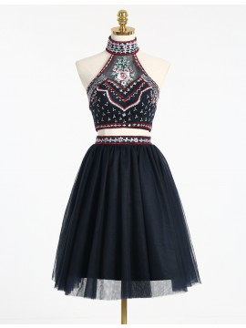 Black Two Piece High Neck Embroidery Backless Short Homecoming Dress