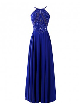 Magnetic Royal Blue Halter Rhinestone Beading Backless Long Prom Dress