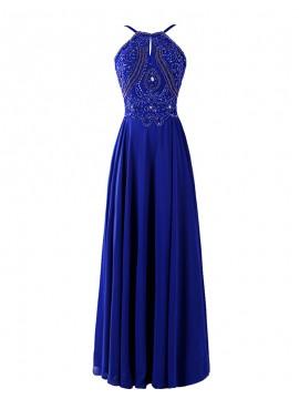 Magnetic Royal Blue Halter Rhinestone Beading Backless Long Prom Dress