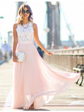 Generous Pearl Pink Round Neck Sleeveless with Lace Long Prom Dress