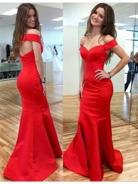 Hot Selling Red Mermaid Off the Shoulder Short Sleeves Open Back Prom Dress