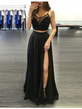 Chic Black Two Piece Spaghetti Straps Split Front Pleats Prom Dress