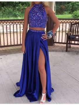 Dramatic Royal Blue Two Piece Halter Split Front Beading Prom Dress