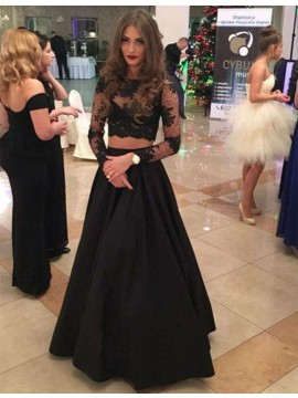 Decent Black Two Piece Bateau Long Sleeves Floor-Length with Lace Prom Dress