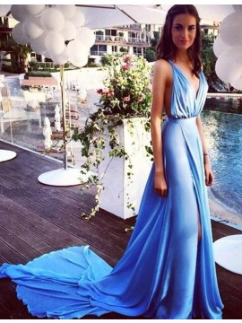 Stunning Blue Deep V-Neck Split Front Pleats Long Backless Prom Dress