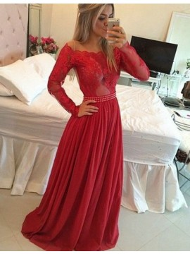 583d5c411d Stunning Red Scalloped Long Sleeves Beading with L..