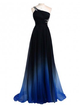 High Quality Black One Shoulder Criss-Cross Straps Beading Long Prom Dress